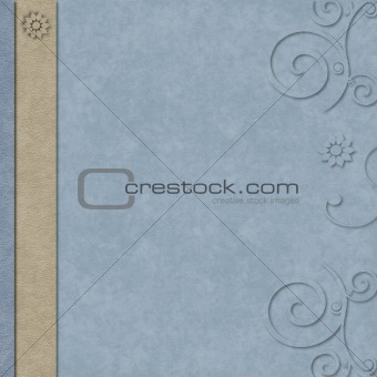 Blue and tan layered scrapbook page with swirl border