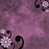Pink and purple flower grunge background with black swirl