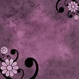 Pink and purple flower grunge background with black swirl