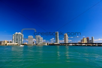The high-rise buildings in Miami Beach
