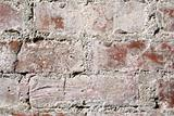 Very old red brick wall close up. Background.