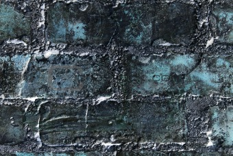 Abstract grunge blue wall made of bricks. Textured background.