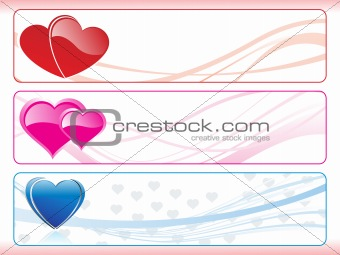 background with set of valentine banner