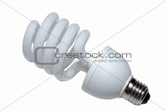 Close up of fluorescent spiral lightblulb. Isolated on white with clipping path.