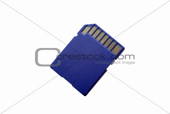 Back side of SD card isolated on white background. Clipping path