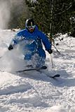 Freeride Skier in powder snow.