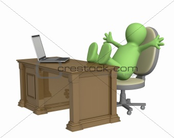 3d puppet, thrown foots on office table