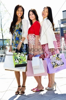 Group of young girlfriends shopping