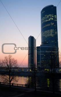 Modern skyscrapers business centre at sunset
