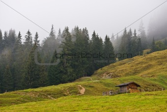 Landscape under the fog in Austria