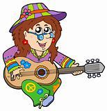 Hippie guitar player