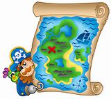Treasure map with lurking pirate