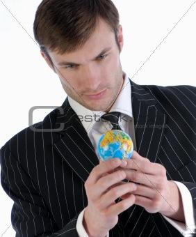 businessman and globe
