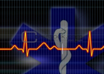 Cardiogram illustration with grid background