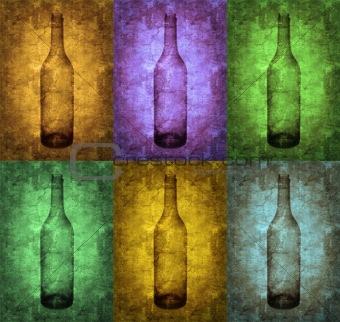 Grunge illustration with bottle and glasses