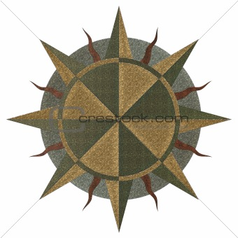 A windrose, compass golden illustration