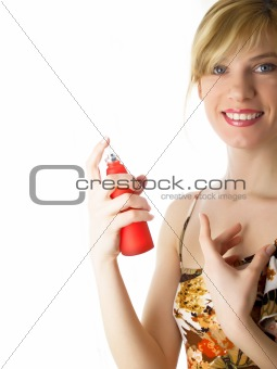cosmetics jar in a hand