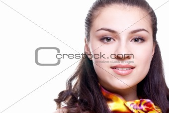 beautiful women in a colored blouse