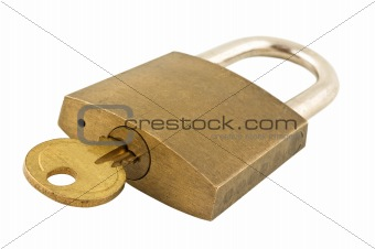Close up shot of a lock with key, isolated.