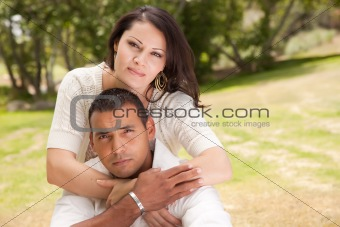 Affectionate Happy Hispanic Couple in the Park.