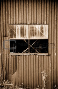 old rusty tin shed