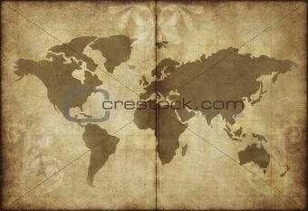 old wolrld map parchment paper