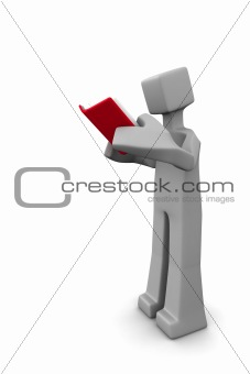3d man reading a read book isolated