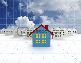 blue outstanding 3d houses with sky and cloud background
