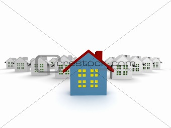 blue outstanding 3d houses isolated