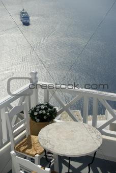Santorini .Balcony and cruise ship.