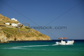 Greece sea landscape with boat