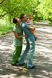 Cheerful family in park