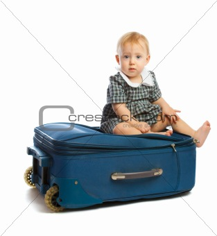 Baby on suitcase