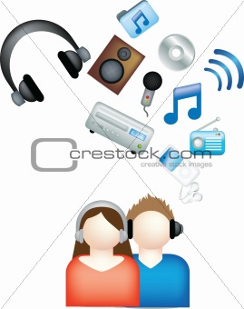 couple listen to music