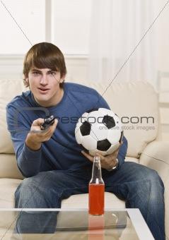 Attractive male with remote