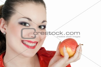 Portrait of the young woman with an apple