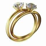 Gold diamond rings intertwined