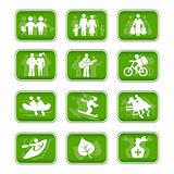 Icons family travel and sport