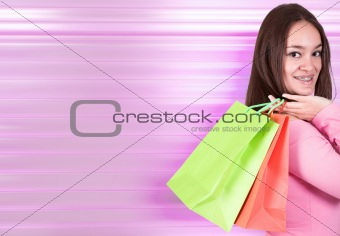 beautiful girl shopping in pink