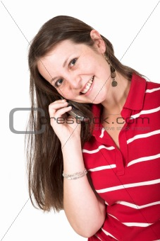 beautiful girl in red on the phone