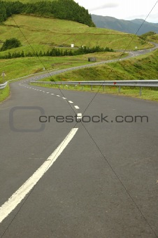 Azores Island landscape with curvy and windy roads