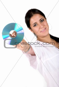 young woman holding a cd rom