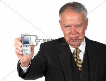 business senior with mobile