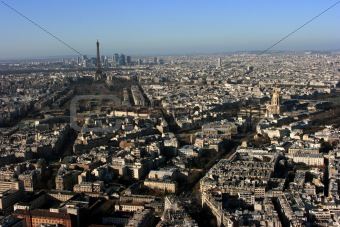 Aerial view over Paris