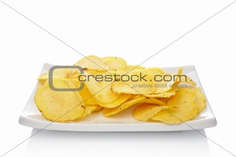 Potato chips on a dish