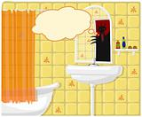Vector illustration of bathroom monster