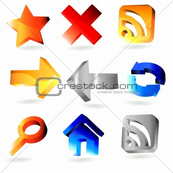 9 shiny 3 dimension web icons