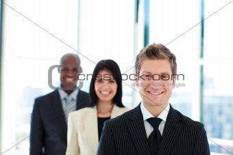 Smiling businessman leading his team
