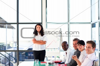 Confident young businesswoman in a meeting