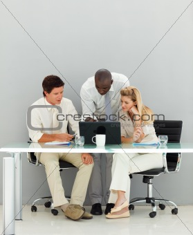 Business people conversing in an office